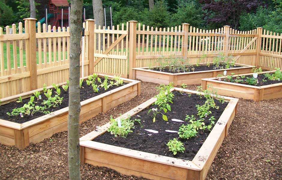 Small gardens and details chester design llc for Raised veggie garden plans